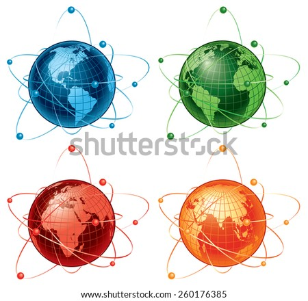 Vector illustration of four globes with different views and colors. - stock vector
