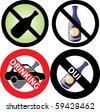 Vector Illustration of four No Alcohol or drinking while driving Signs. See my others in this series. - stock vector