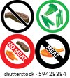 Vector Illustration of four no meat Signs. See my others in this series. - stock photo