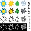 Vector illustration of four seasons in colorful and black and white version - stock photo
