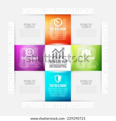 Vector illustration of four side flip infographic design element. - stock vector