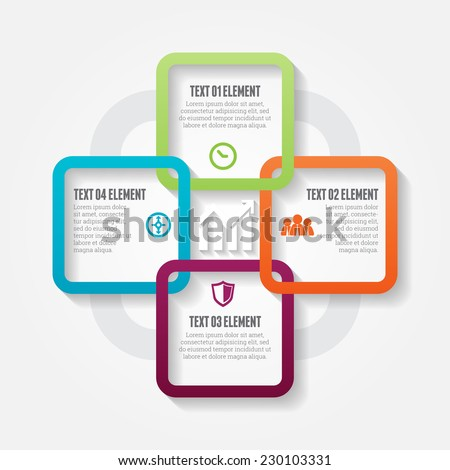 Vector illustration of four square options infographic design elements. - stock vector