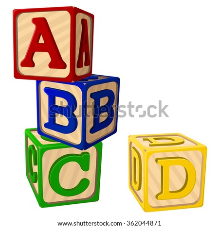 Vector illustration of four stacked alphabet blocks. - stock vector
