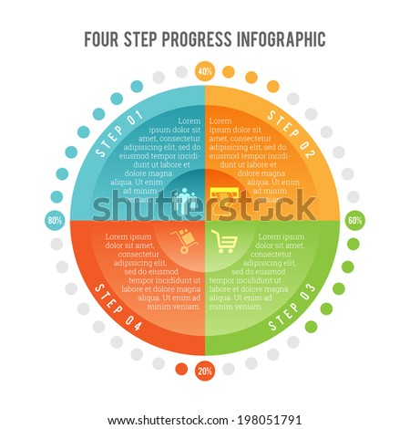 Vector illustration of four step progress infographic element. - stock vector