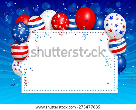 Vector illustration of Fourth of july background. Used transparency and blending mode. Objects are layered.