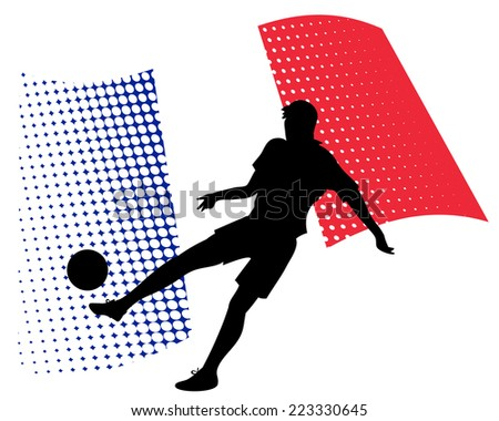 vector illustration of france soccer player silhouette against national flag isolated on white