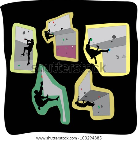 vector illustration of free climbers- stickers - stock vector
