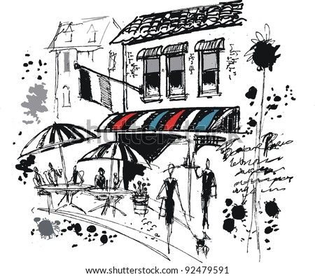 Vector illustration of French cafe with sun umbrellas and people dining - stock vector