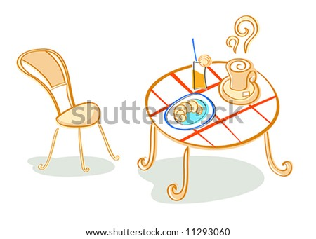 Vector illustration of french (or continental) breakfast at cafe table - stock vector