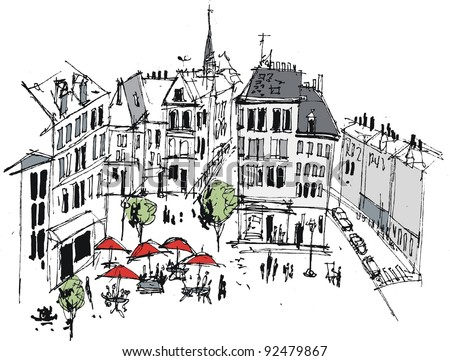 Vector illustration of French town with buildings and cafe people - stock vector