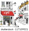 Vector illustration of French village street scene with cafe and people. - stock vector