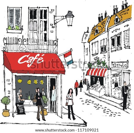 Vector illustration of French village street scene with cafe and people.