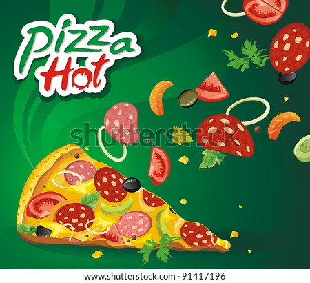Vector illustration of Fresh hot pepperoni pizza. Abstract Elegance food. - stock vector