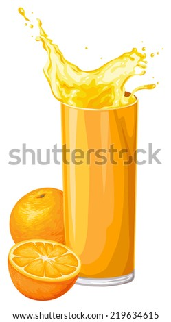Vector illustration of fresh orange fruit with juice in glass. - stock vector