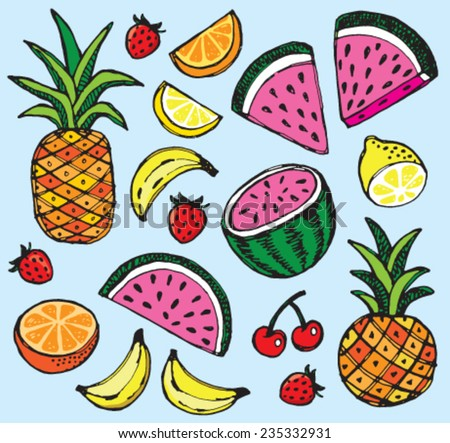 Vector illustration of fresh summer fruits including pineapple and watermelon. - stock vector
