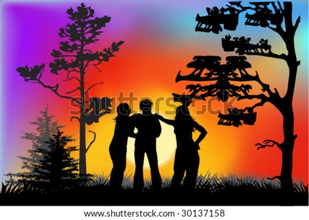 vector illustration of friendship - stock vector