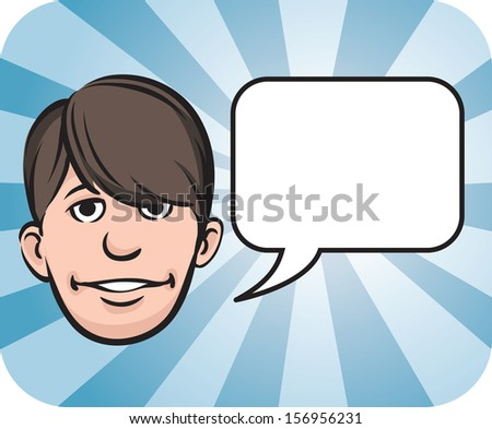 Vector illustration of Fringe face with speech bubble. Easy-edit layered vector EPS10 file scalable to any size without quality loss. High resolution raster JPG file is included. - stock vector