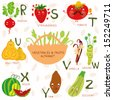 Vector illustration of fruit and vegetables. A, b, c, d, e, f ,g,h letters.Radish,strawberries,tomato,ugli fruit,vanilla,wasabi,xigua,yam,zucchini. Alphabet design in a colorful style. - stock vector