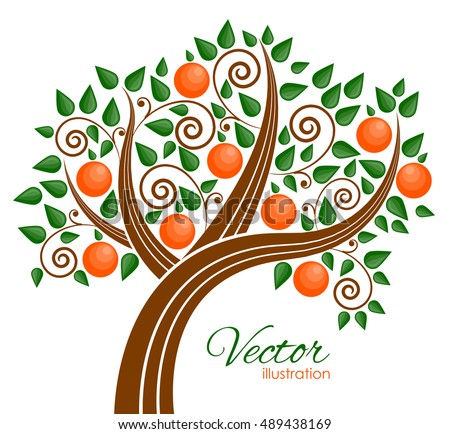 Vector illustration of fruit tree
