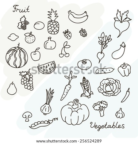 Vector illustration of fruits and vegetables collection in black and white