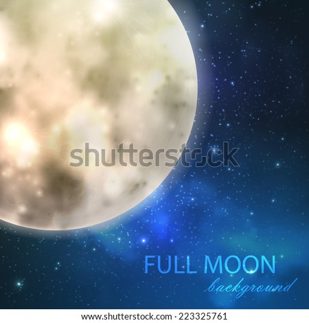 vector illustration of  full moon on the night starry sky background.  - stock vector