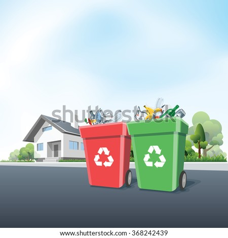 Vector illustration of full recycling trash bins containers in front of the residential house on the street. Waste segregation management concept. - stock vector