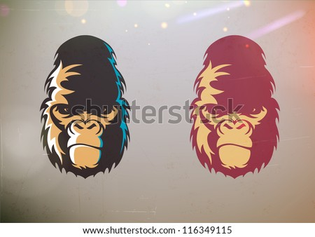 Vector illustration of fun cartoon stylized gorilla smirk face in two color variations - stock vector