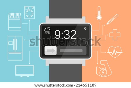 Vector illustration of functionality electronic intelligence wristwatch for people - stock vector