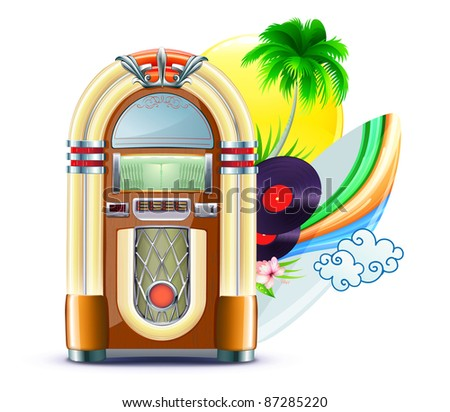 Vector illustration of funky summer music background with palm trees, jukeboxe, vinyle dick, hibiscus flowers, surfboard and yellow sun