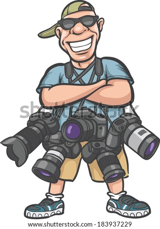Vector illustration of funny cartoon character - happy photographer with lots of cameras. Easy-edit layered vector EPS10 file scalable to any size without quality loss. - stock vector