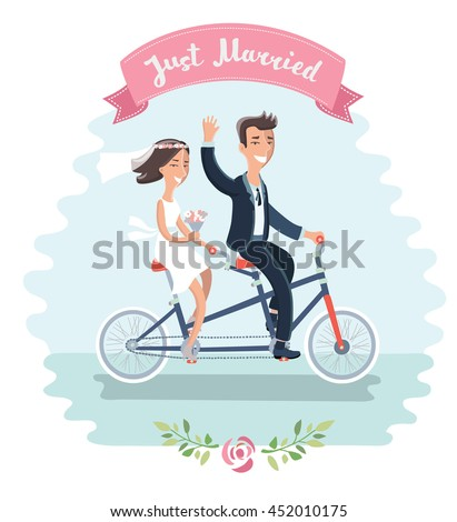 Vector illustration of funny cartoon couple: Bride and groom riding tandem bicycle at the their wedding and hand drawn lettering of words just married on pink ribbon - stock vector