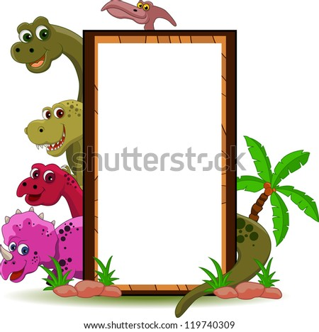 vector illustration of funny dinosaur cartoon with blank sign - stock vector