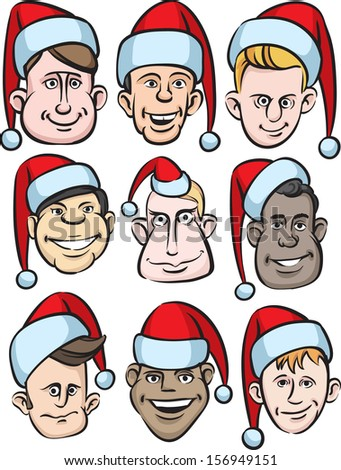 Vector illustration of funny men faces in santa hats. Easy-edit layered vector EPS10 file scalable to any size without quality loss. High resolution raster JPG file is included. - stock vector