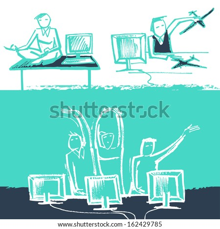 Vector Illustration of Funny office life. Sketch style. - stock vector