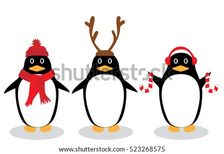 vector illustration of funny penguins holiday background