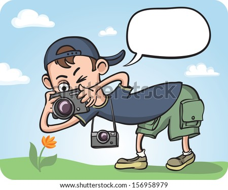 Vector illustration of Funny Photographer Making Macro Photography. Easy-edit layered vector EPS10 file scalable to any size without quality loss. High resolution raster JPG file is included. - stock vector