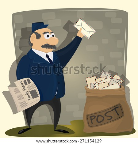 Vector Illustration of funny Postman with newspaper and sack of letters - stock vector