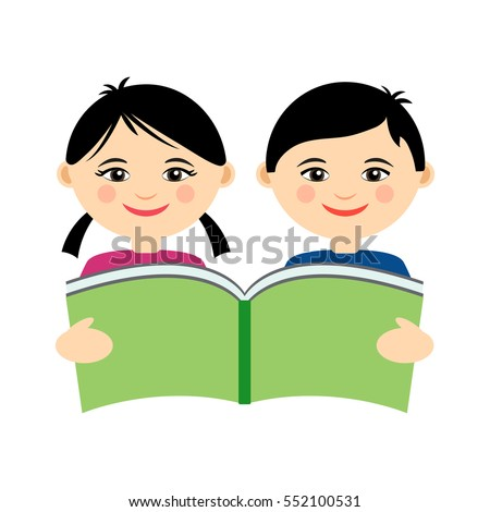 Child reading book stock images royalty free images vectors vector illustration of funny smiling asian girl and boy reading book logo design template for pronofoot35fo Choice Image