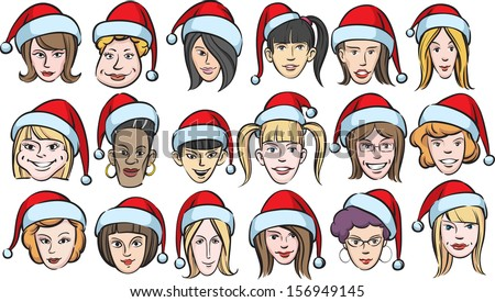 Vector illustration of funny women faces with santa hats. Easy-edit layered vector EPS10 file scalable to any size without quality loss. High resolution raster JPG file is included. - stock vector