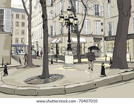 Vector illustration of Furstemberg square in paris - stock vector