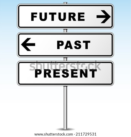 Vector illustration of future and past direction signpost - stock vector