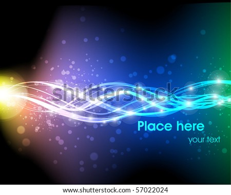 Vector illustration of futuristic abstract glowing background resembling motion blurred neon light curves - stock vector