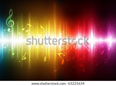 Vector illustration of futuristic abstract glowing music background - stock vector
