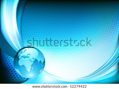 Vector illustration of  futuristic blue  abstract spotty background resembling motion blurred neon light curves with Glossy Earth Globe