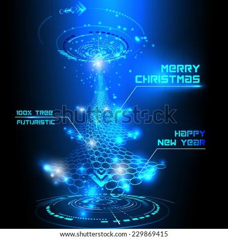 Vector illustration of futuristic Christmas tree - stock vector