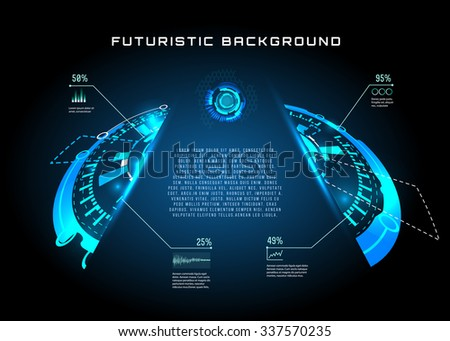 vector  illustration of Futuristic interface HUD, banner background. - stock vector