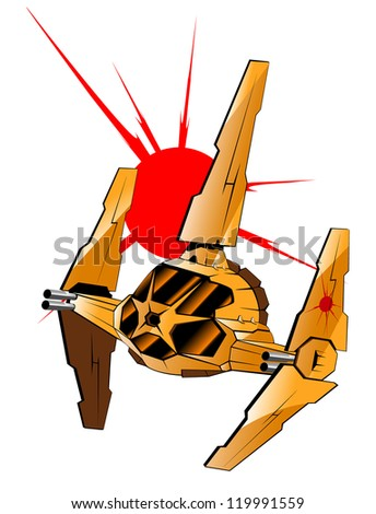 vector illustration of futuristic spaceship.vector 58