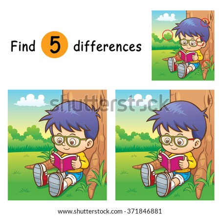 Vector Illustration of Game for children find differences - Boy