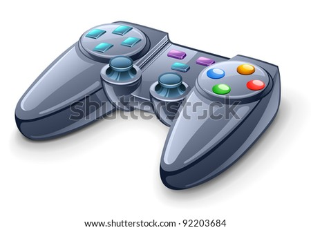 Vector illustration of gamepad on white background - stock vector