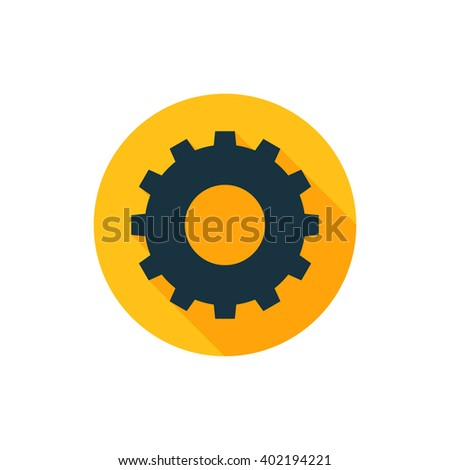 Vector illustration of gear icon, gear icon button, vector gear icon, gear icon image, gear icon badge, gear icon sign, gear icon  logo, gear icon design, solid gear icon, yellow gear icon with shadow - stock vector